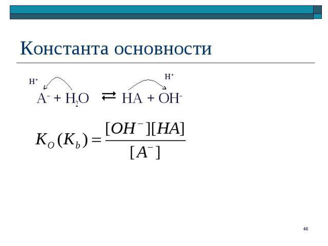 A– + H2O HA + ОН–