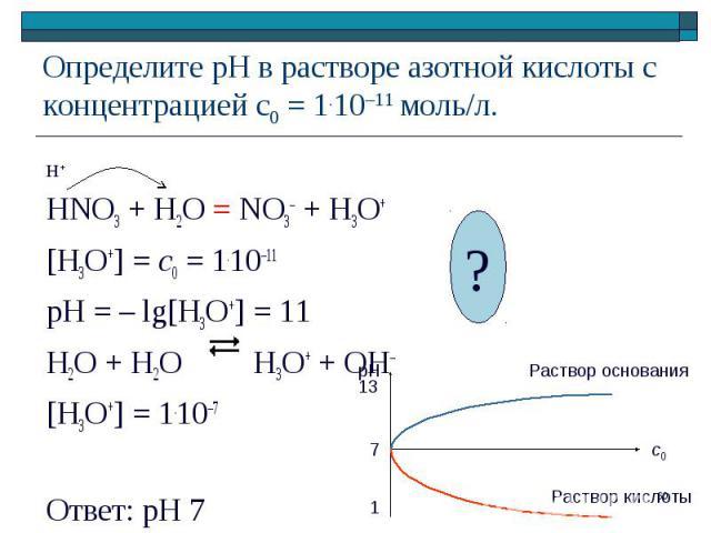 HNO3 + H2O = NO3– + H3O+ [H3O+] = c0 = 1.10–11 pH = – lg[H3O+] = 11 H2O + H2O H3O+ + OH– [H3O+] = 1.10–7 Ответ: рН 7