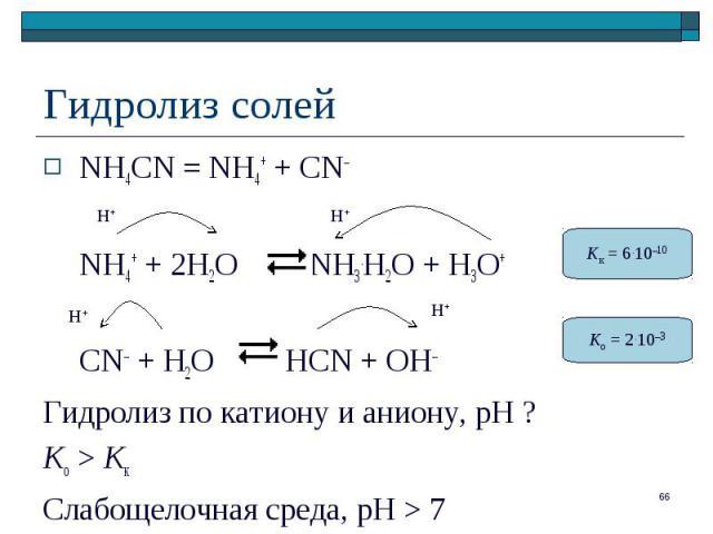 NH4CN = NH4+ + CN– NH4CN = NH4+ + CN– NH4+ + 2H2O NH3.H2O + H3O+ CN– + H2O HCN + OH– Гидролиз по катиону и аниону, рН ? Ko > Kк Слабощелочная среда, pH > 7