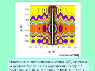 Распределение интенсивности рассеяния CuK -излучения на кристалле Si с КТ из Ge