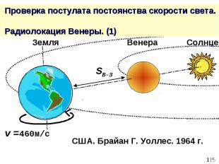 Проверка постулата постоянства скорости света. Радиолокация Венеры. (1)
