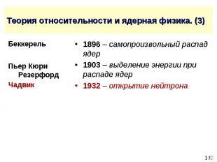 Теория относительности и ядерная физика. (3) 1896 – самопроизвольный распад ядер