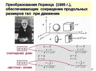 Преобразования Лоренца (1895 г.), обеспечивающие сокращение продольных размеров
