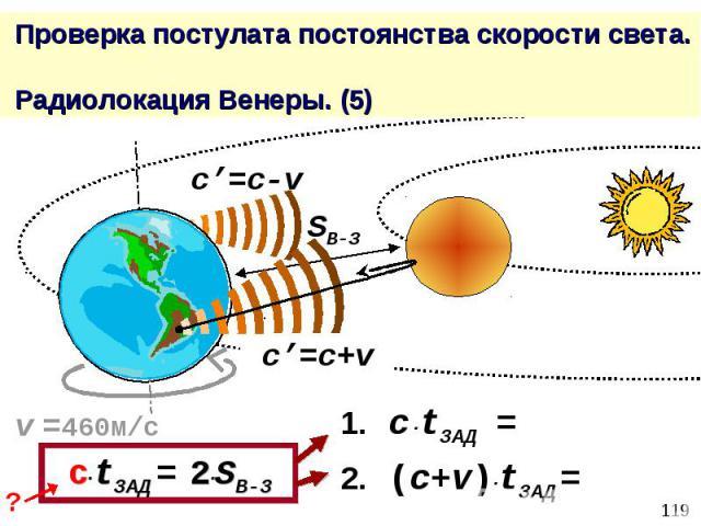 Проверка постулата постоянства скорости света. Радиолокация Венеры. (5)