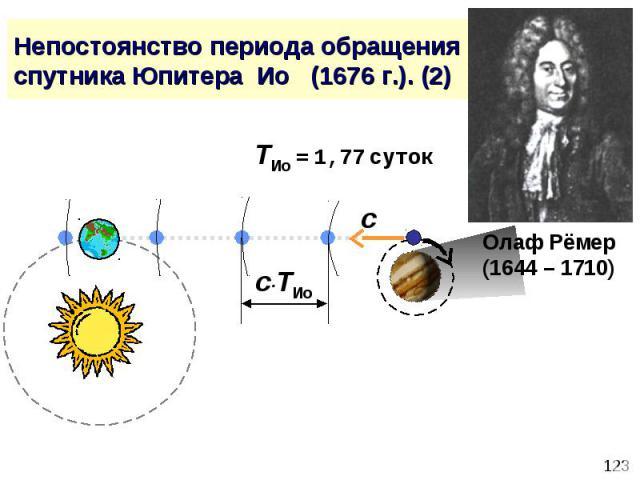 Непостоянство периода обращения спутника Юпитера Ио (1676 г.). (2)