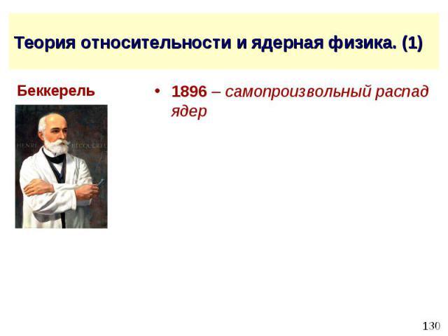 Теория относительности и ядерная физика. (1) 1896 – самопроизвольный распад ядер