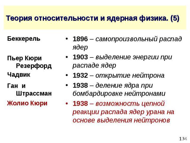Теория относительности и ядерная физика. (5) 1896 – самопроизвольный распад ядер 1903 – выделение энергии при распаде ядер 1932 – открытие нейтрона 1938 – деление ядра при бомбардировке нейтронами 1938 – возможность цепной реакции распада ядер урана…