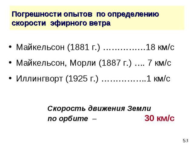 Погрешности опытов по определению скорости эфирного ветра Майкельсон (1881 г.) ……………18 км/с Майкельсон, Морли (1887 г.) …. 7 км/с Иллингворт (1925 г.) …………….1 км/с Скорость движения Земли по орбите – 30 км/с