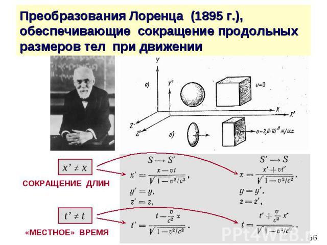 Преобразования Лоренца (1895 г.), обеспечивающие сокращение продольных размеров тел при движении