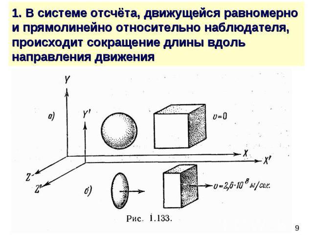 1. В системе отсчёта, движущейся равномерно и прямолинейно относительно наблюдателя, происходит сокращение длины вдоль направления движения