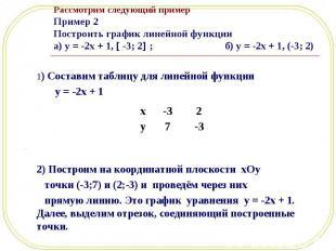 1) Составим таблицу для линейной функции 1) Составим таблицу для линейной функци