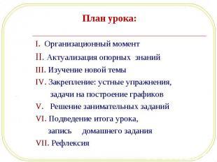 I. Организационный момент I. Организационный момент II. Актуализация опорных зна