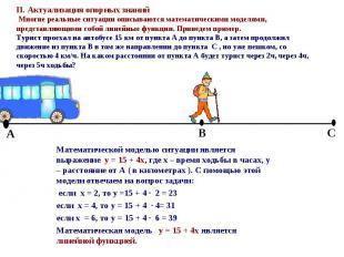 Математической моделью ситуации является выражение y = 15 + 4x, где x – время хо