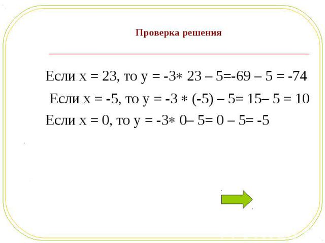 Если x = 23, то y = -3 23 – 5=-69 – 5 = -74 Если x = 23, то y = -3 23 – 5=-69 – 5 = -74 Если x = -5, то y = -3 (-5) – 5= 15– 5 = 10 Если x = 0, то y = -3 0– 5= 0 – 5= -5