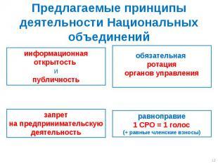 Предлагаемые принципы деятельности Национальных объединений