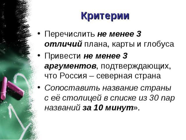 Критерии Перечислить не менее 3 отличий плана, карты и глобуса Привести не менее 3 аргументов, подтверждающих, что Россия – северная страна Сопоставить название страны с её столицей в списке из 30 пар названий за 10 минут».