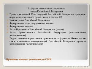 Иерархия нормативных правовых Иерархия нормативных правовых актов Российской Фед