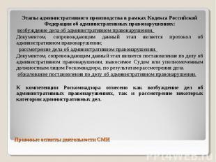 Этапы административного производства в рамках Кодекса Российской Федерации об ад