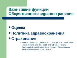 Оценка Политика здравоохранения Страхование Source: Baker, E.L., Melton, R.J., S