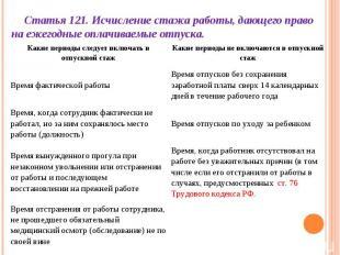 Статья 121. Исчисление стажа работы, дающего право на ежегодные оплачиваемые отп