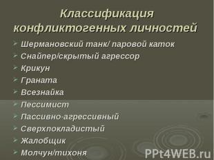 Классификация конфликтогенных личностей Шермановский танк/ паровой каток Снайпер