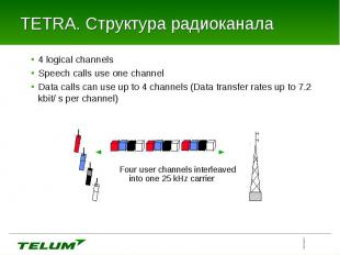 4 logical channels 4 logical channels Speech calls use one channel Data calls ca