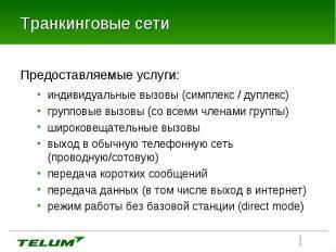 Предоставляемые услуги: Предоставляемые услуги: индивидуальные вызовы (симплекс