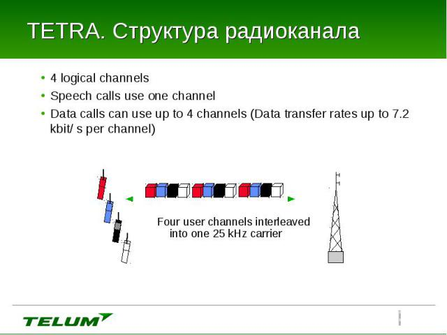 4 logical channels 4 logical channels Speech calls use one channel Data calls can use up to 4 channels (Data transfer rates up to 7.2 kbit/ s per channel)