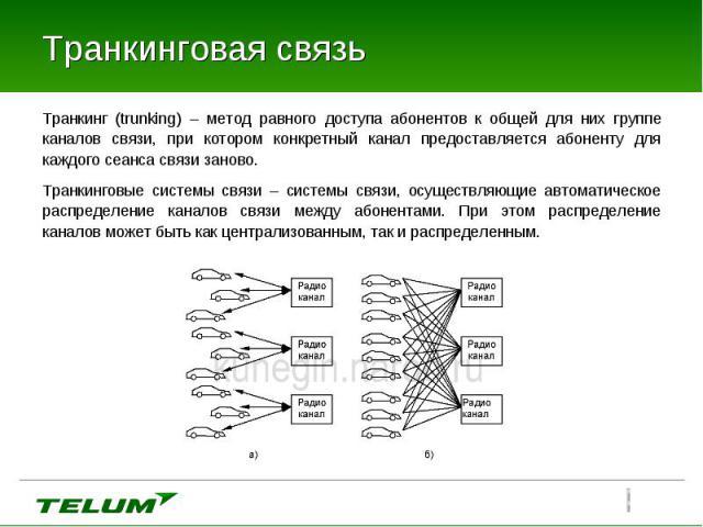 Транкинг (trunking) – метод равного доступа абонентов к общей для них группе каналов связи, при котором конкретный канал предоставляется абоненту для каждого сеанса связи заново. Транкинг (trunking) – метод равного доступа абонентов к общей для них …