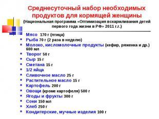 Мясо 170 г (птица) Мясо 170 г (птица) Рыба 70 г (2 раза в неделю) Молоко, кислом