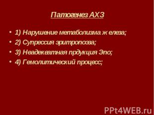 Патогенез АХЗ 1) Нарушение метаболизма железа; 2) Супрессия эритропоэза; 3) Неад