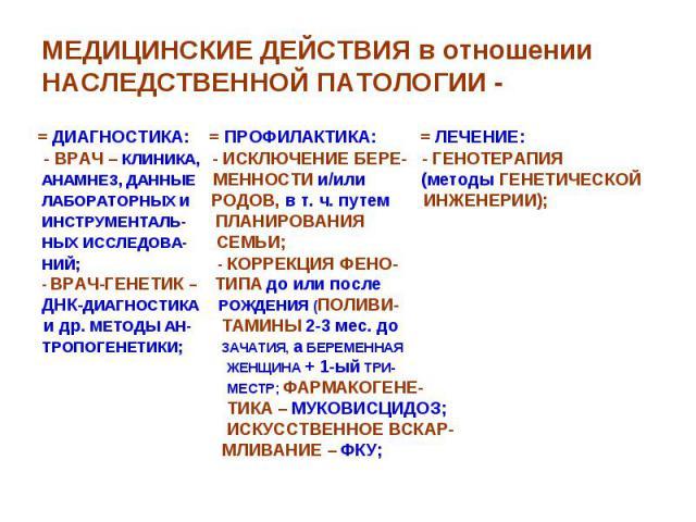 МЕДИЦИНСКИЕ ДЕЙСТВИЯ в отношении НАСЛЕДСТВЕННОЙ ПАТОЛОГИИ - = ДИАГНОСТИКА: = ПРОФИЛАКТИКА: = ЛЕЧЕНИЕ: - ВРАЧ – КЛИНИКА, - ИСКЛЮЧЕНИЕ БЕРЕ- - ГЕНОТЕРАПИЯ АНАМНЕЗ, ДАННЫЕ МЕННОСТИ и/или (методы ГЕНЕТИЧЕСКОЙ ЛАБОРАТОРНЫХ и РОДОВ, в т. ч. путем ИНЖЕНЕРИ…