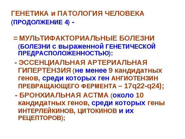 ГЕНЕТИКА и ПАТОЛОГИЯ ЧЕЛОВЕКА (ПРОДОЛЖЕНИЕ 4) - = МУЛЬТИФАКТОРИАЛЬНЫЕ БОЛЕЗНИ (БОЛЕЗНИ с выраженной ГЕНЕТИЧЕСКОЙ ПРЕДРАСПОЛОЖЕННОСТЬЮ): - ЭССЕНЦИАЛЬНАЯ АРТЕРИАЛЬНАЯ ГИПЕРТЕНЗИЯ (не менее 9 кандидатных генов, среди которых ген АНГИОТЕНЗИН ПРЕВРАЩАЮЩЕ…