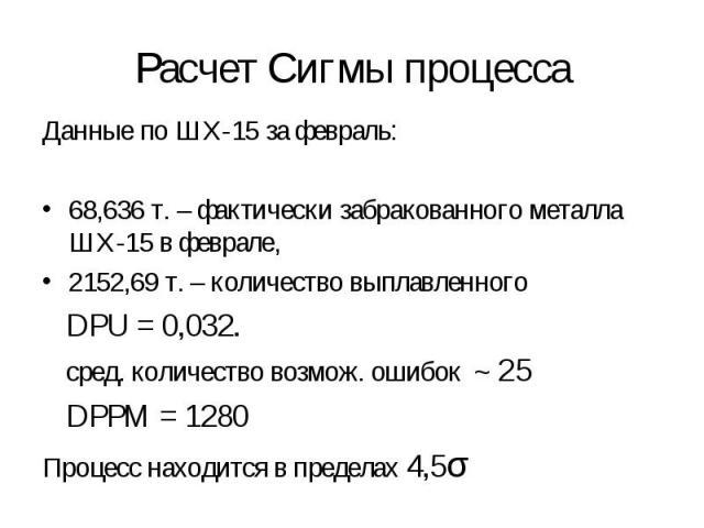Данные по ШХ-15 за февраль: Данные по ШХ-15 за февраль: 68,636 т. – фактически забракованного металла ШХ-15 в феврале, 2152,69 т. – количество выплавленного DPU = 0,032. сред. количество возмож. ошибок ~ 25 DPPM = 1280 Процесс находится в пределах 4,5σ