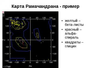 Карта Рамачандрана - пример желтый – бета-листы красный – альфа-спираль квадраты