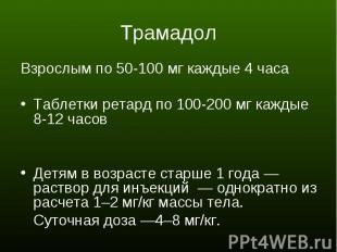 Взрослым по 50-100 мг каждые 4 часа Взрослым по 50-100 мг каждые 4 часа Таблетки