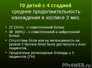 70 детей с 4 стадией средняя продолжительность нахождения в хосписе 3 мес. 22 (3