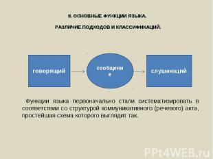 Функции языка первоначально стали систематизировать в соответствии со структурой