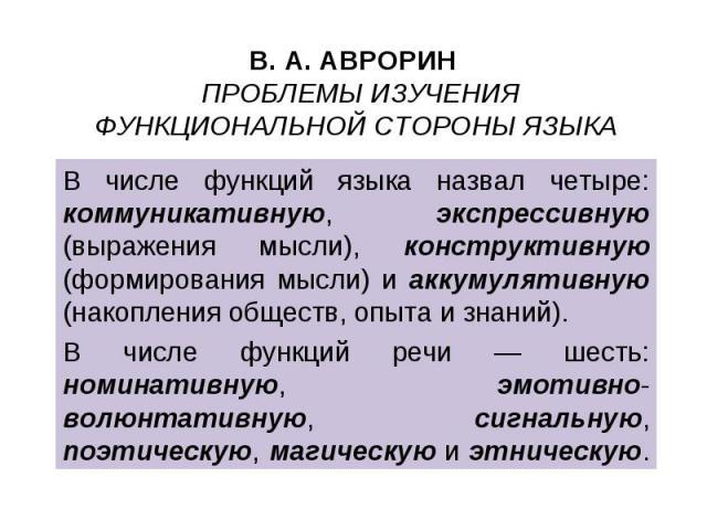 В числе функций языка назвал четыре: коммуникативную, экспрессивную (выражения мысли), конструктивную (формирования мысли) и аккумулятивную (накопления обществ, опыта и знаний). В числе функций языка назвал четыре: коммуникативную, экспрессивную (вы…
