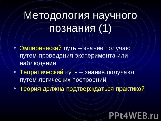 Методология научного познания (1) Эмпирический путь – знание получают путем проведения эксперимента или наблюдения Теоретический путь – знание получают путем логических построений Теория должна подтверждаться практикой