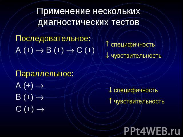 Применение нескольких диагностических тестов Последовательное: А (+) B (+) C (+) Параллельное: А (+) B (+) C (+)