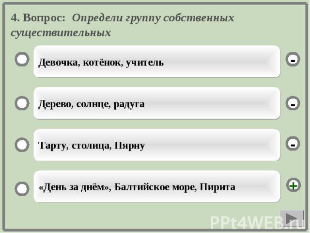 4. Вопрос: Определи группу собственных существительных