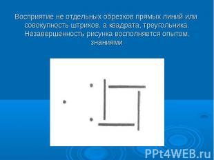 Восприятие не отдельных обрезков прямых линий или совокупность штрихов, а квадра