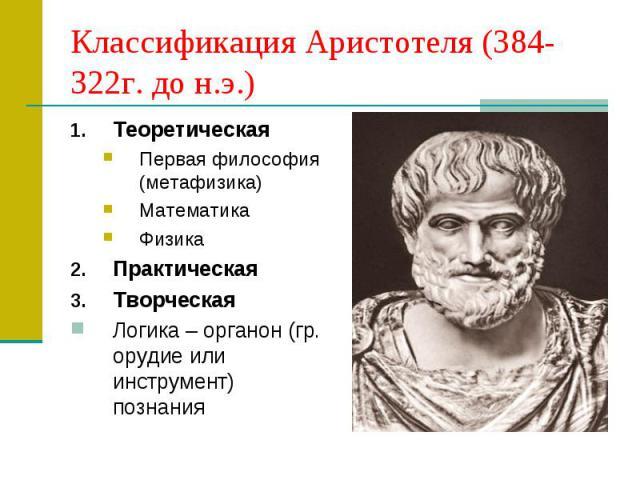 Классификация Аристотеля (384-322г. до н.э.) Теоретическая Первая философия (метафизика) Математика Физика Практическая Творческая Логика – органон (гр. орудие или инструмент) познания