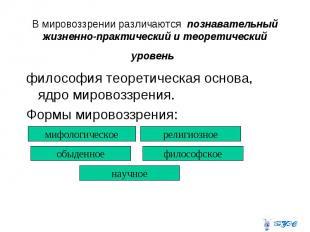В мировоззрении различаются познавательный жизненно-практический и теоретический