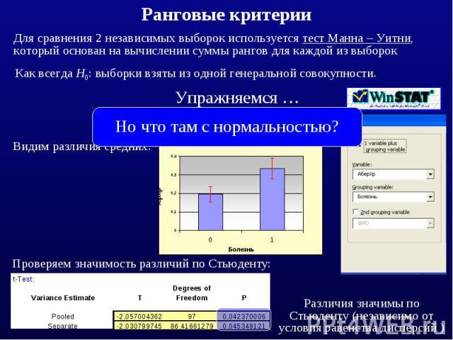 Для сравнения 2 независимых выборок используется тест Манна – Уитни, который основан на вычислении суммы рангов для каждой из выборок