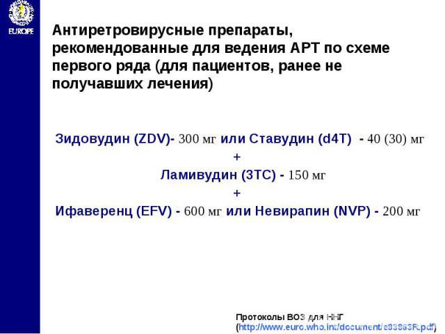 Антиретровирусные препараты, рекомендованные для ведения АРТ по схеме первого ряда (для пациентов, ранее не получавших лечения)
