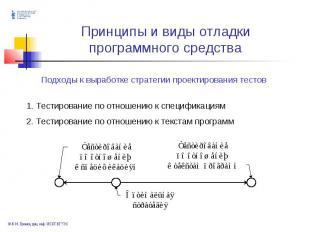 . Тестирование по отношению к спецификациям 2. Тестирование по отношению к текст
