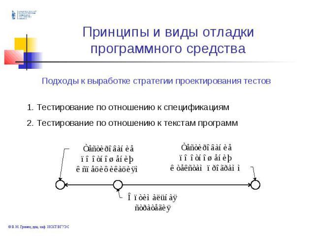 . Тестирование по отношению к спецификациям 2. Тестирование по отношению к текстам программ