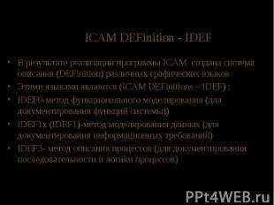 ICAM DEFinition - IDEF В результате реализации программы ICAM создана система оп